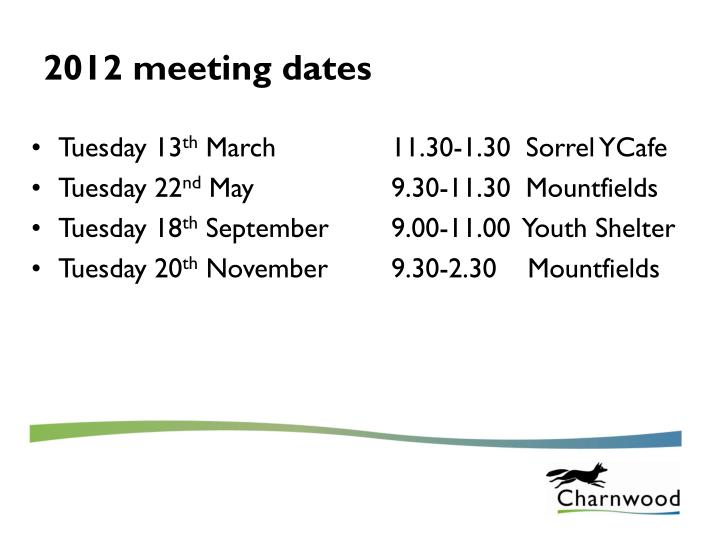 2012 meeting dates