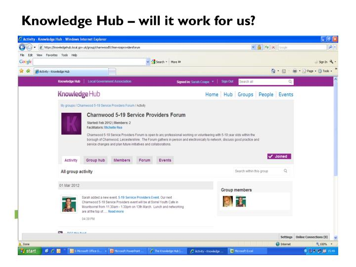 Knowledge Hub – will it work for us?