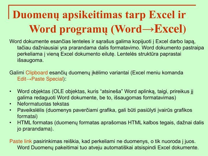Duomenų apsikeitimas tarp Excel ir Word programų (Word