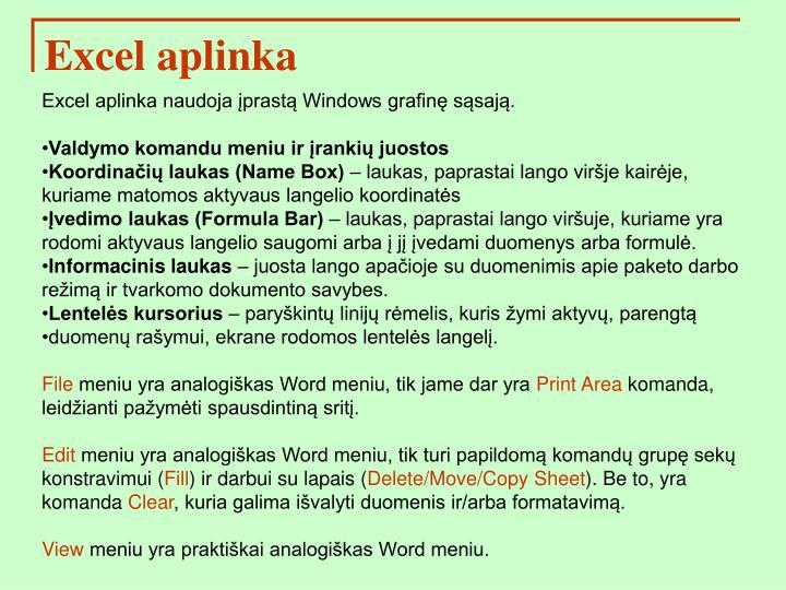 Excel aplinka