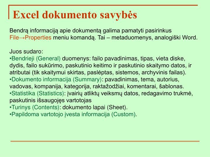 Excel dokumento savybės