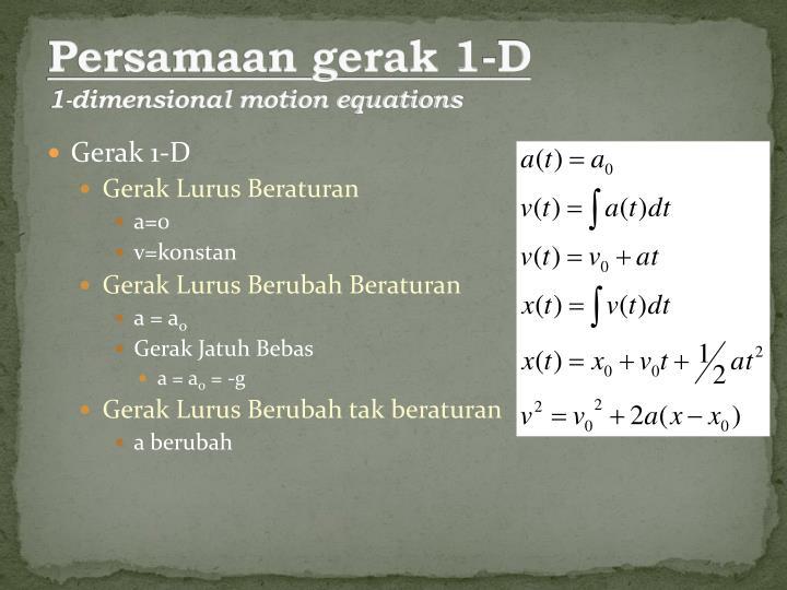 Persamaan gerak 1-D