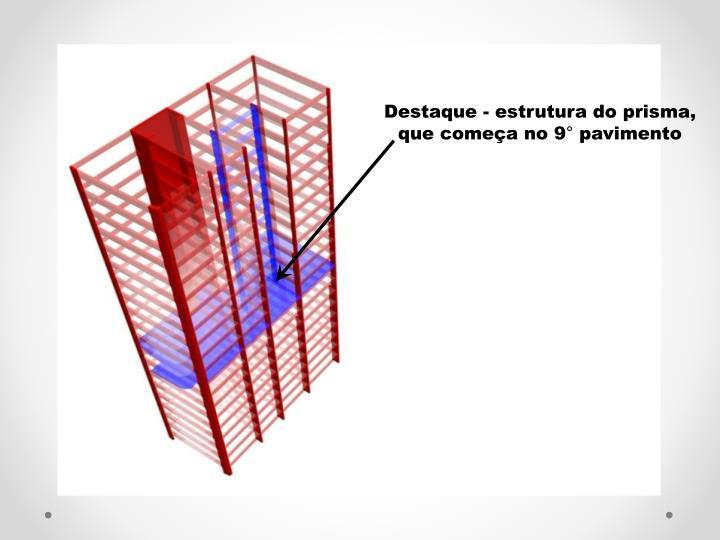 Destaque - estrutura do prisma, que comea no 9 pavimento