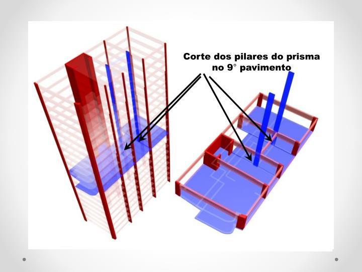 Corte dos pilares do prisma      no 9 pavimento