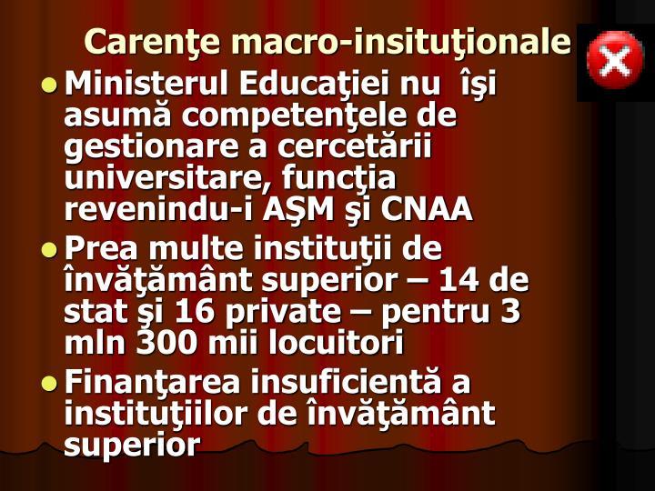 Carenţe macro-insituţionale
