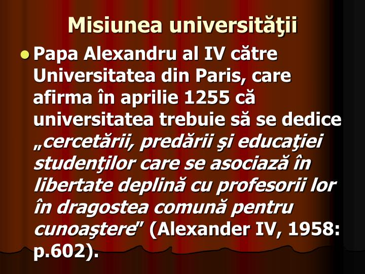 Misiunea universităţii