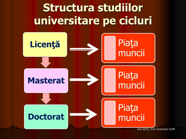 Structura studiilor universitare pe cicluri