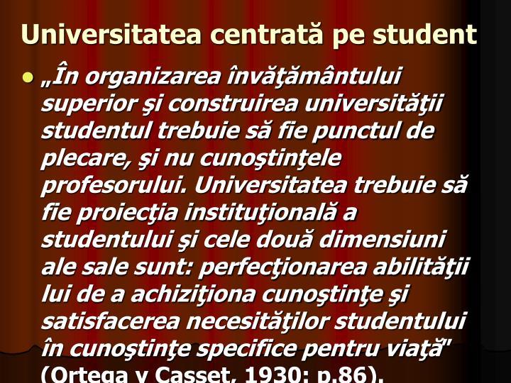 Universitatea centrată pe student