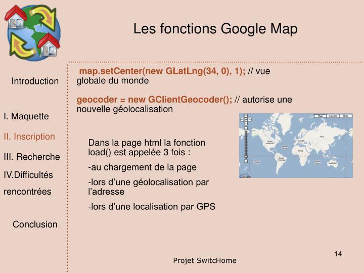Les fonctions Google Map
