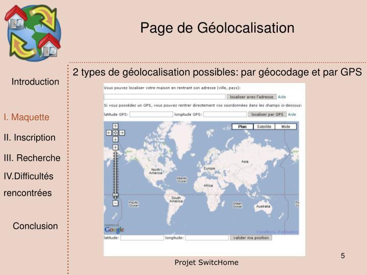 Page de Géolocalisation