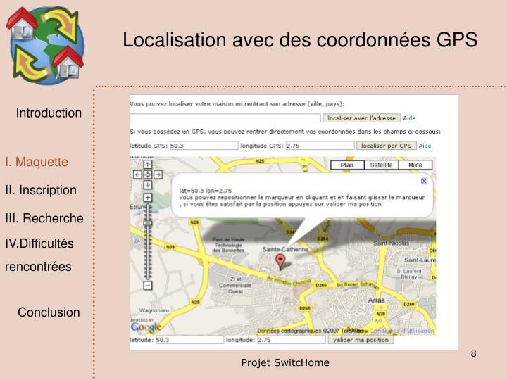 Localisation avec des coordonnées GPS