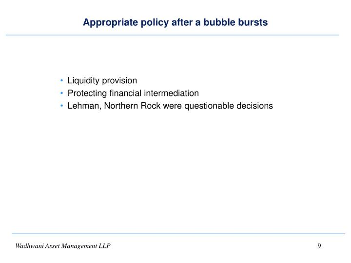 Appropriate policy after a bubble bursts
