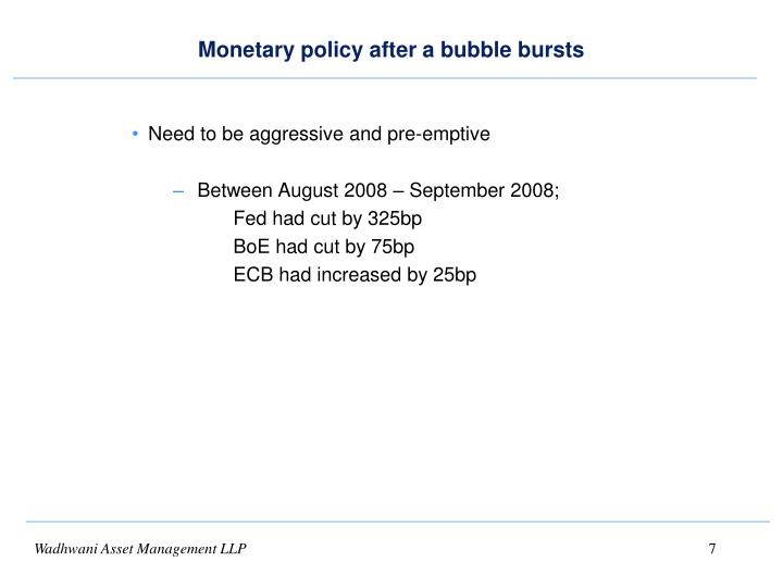 Monetary policy after a bubble bursts