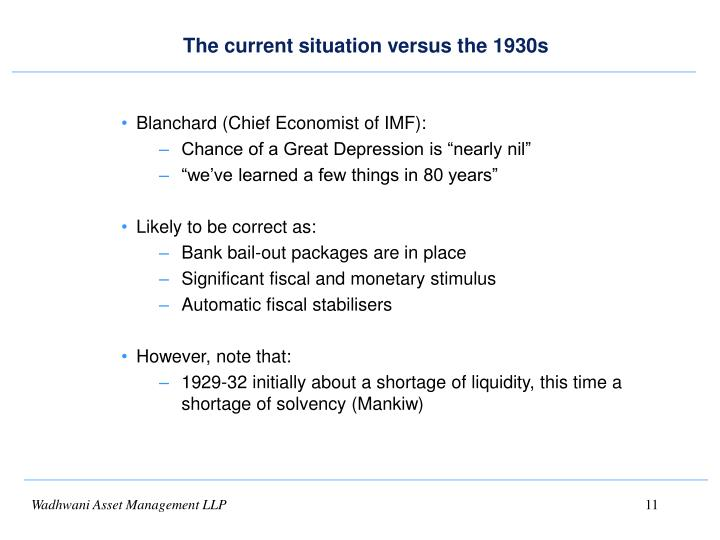 The current situation versus the 1930s
