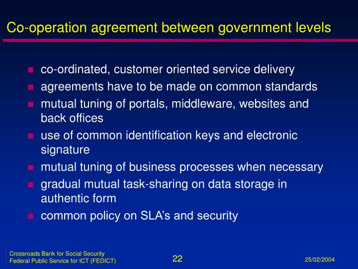 Co-operation agreement between government levels