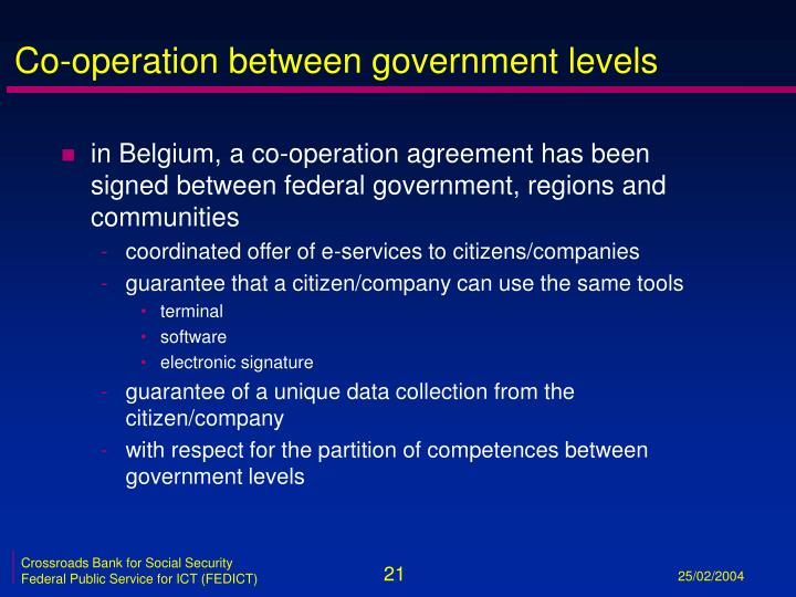 Co-operation between government levels