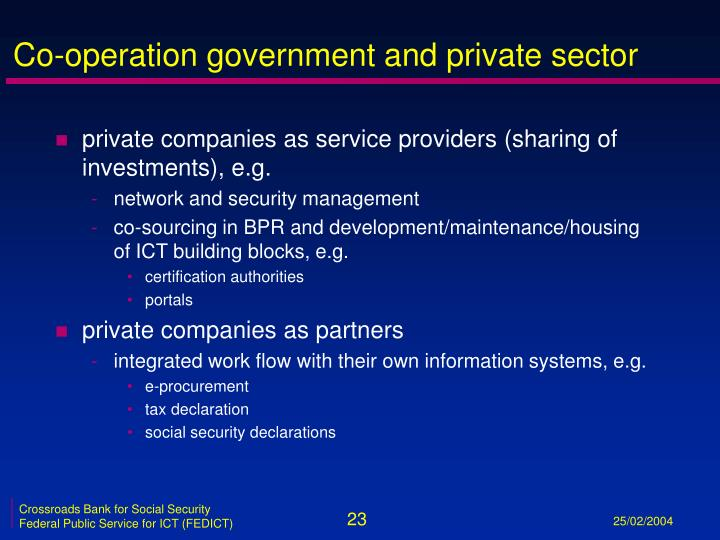 Co-operation government and private sector