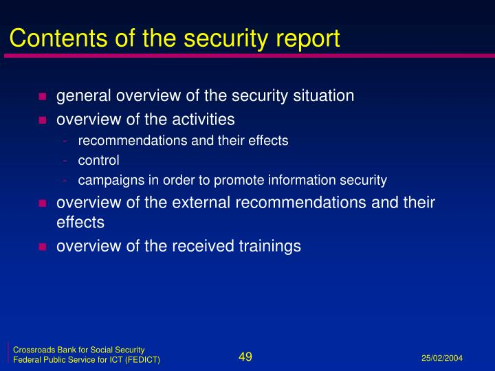 Contents of the security report