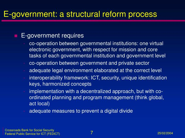 E-government: a structural reform process