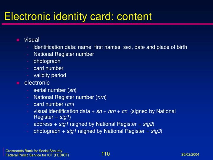 Electronic identity card: content