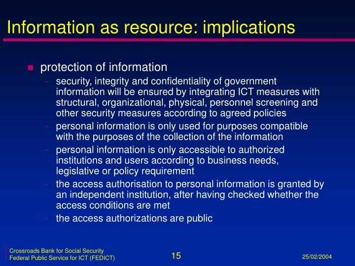 Information as resource: implications