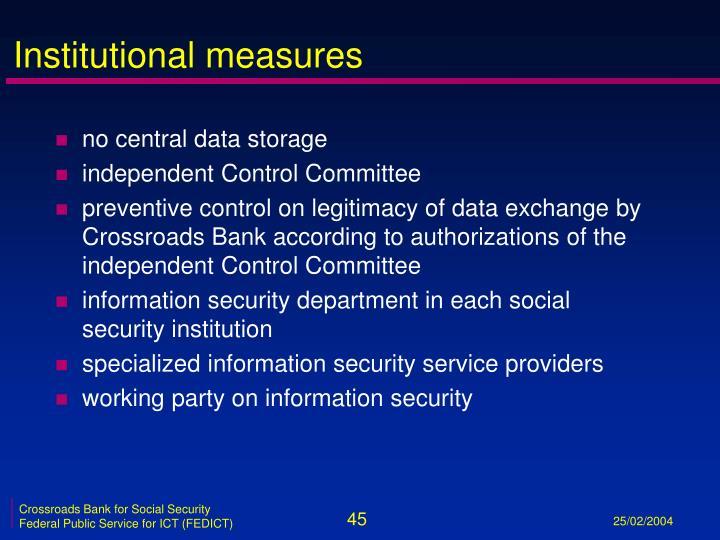 Institutional measures
