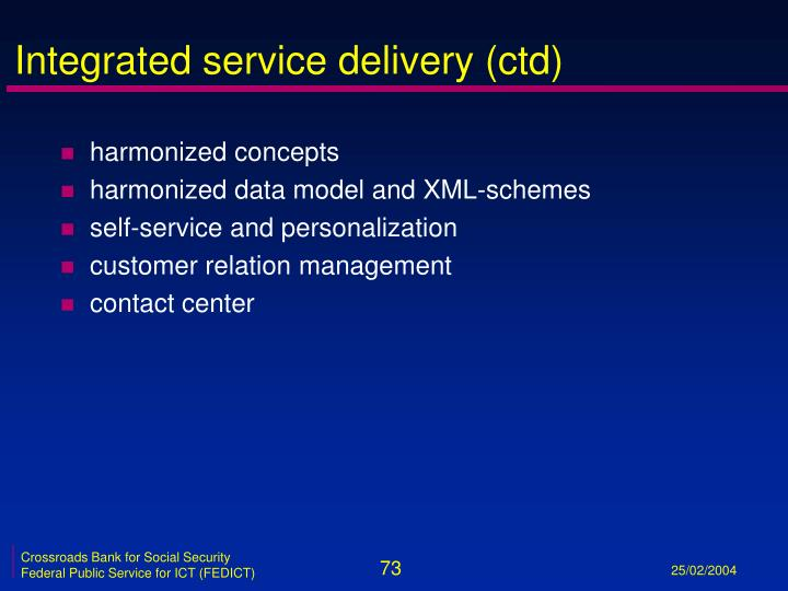 Integrated service delivery (ctd)