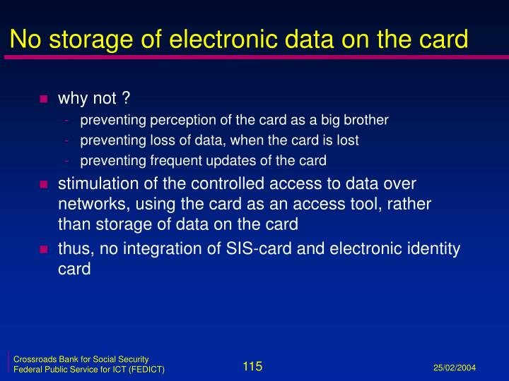 No storage of electronic data on the card