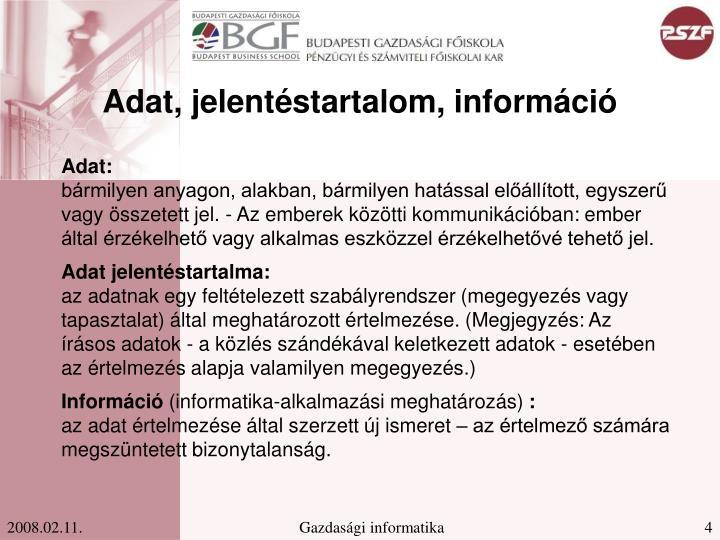 Adat, jelentéstartalom, információ