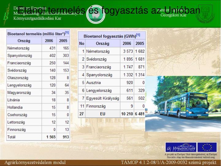 Etanol termelés és fogyasztás az Unióban