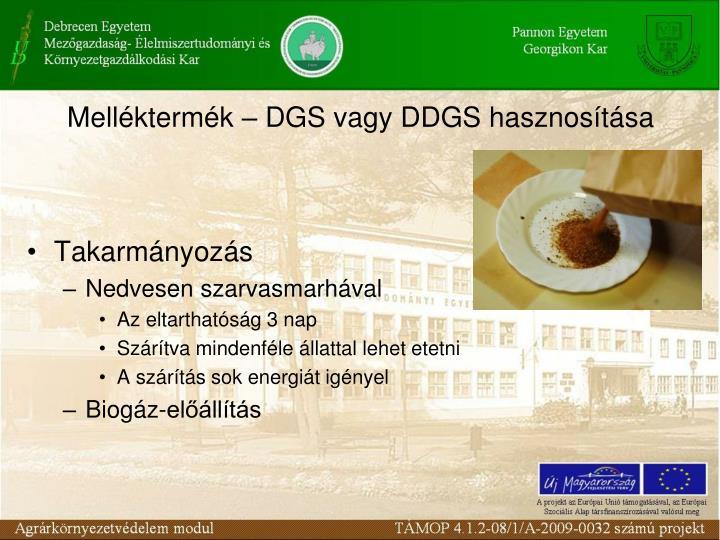 Melléktermék – DGS vagy DDGS hasznosítása