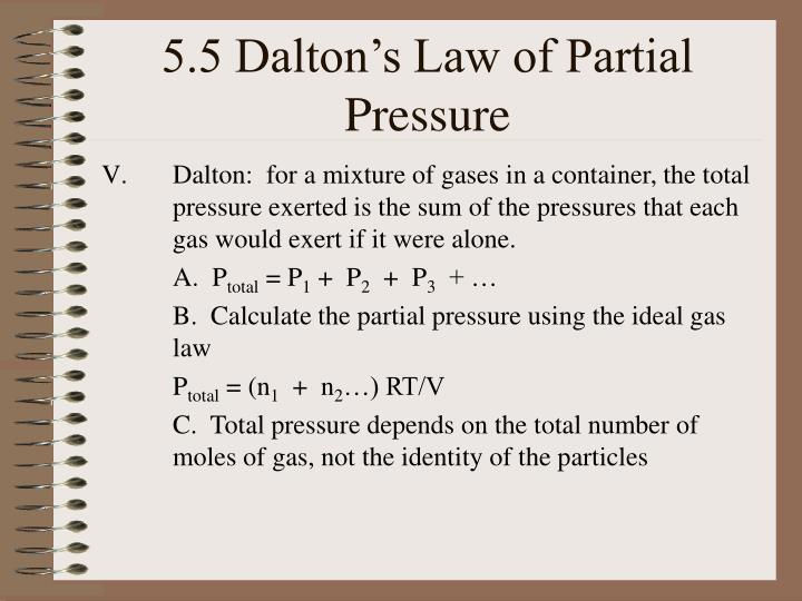 5.5 Dalton's Law of Partial Pressure