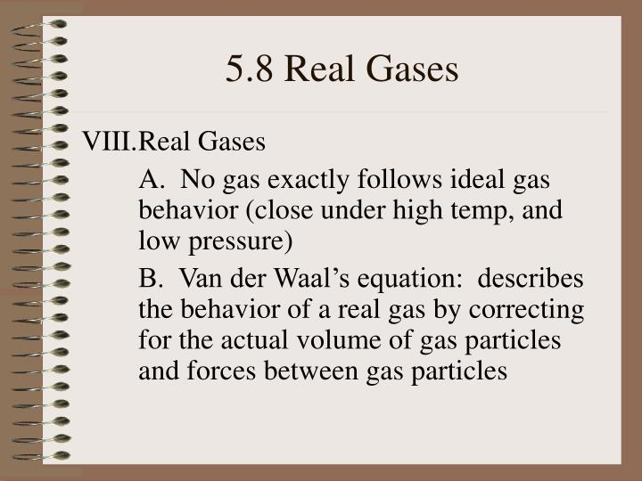 5.8 Real Gases