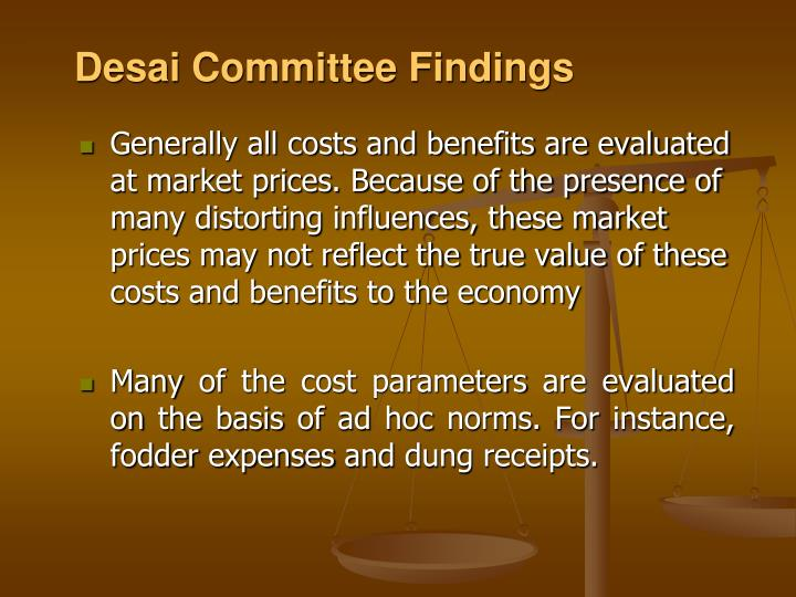 Desai Committee Findings