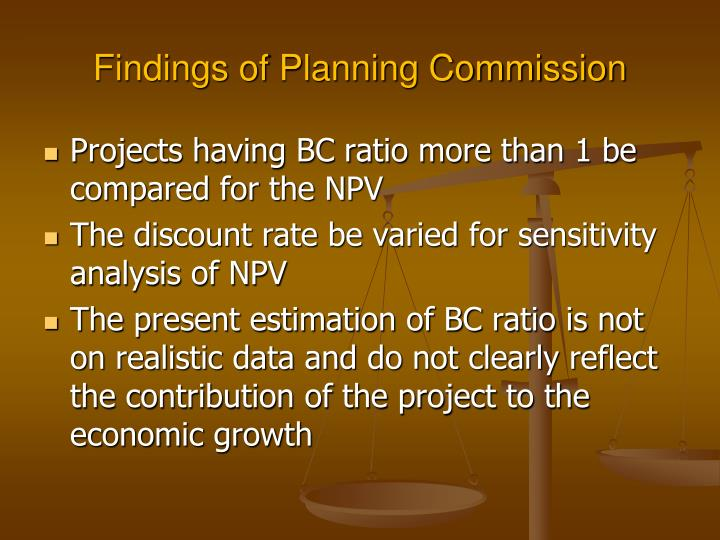 Findings of Planning Commission