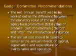 gadgil committee recommendations