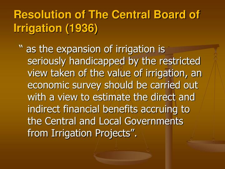 Resolution of The Central Board of Irrigation (1936)