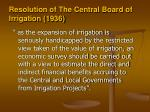 resolution of the central board of irrigation 1936