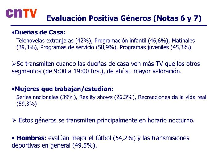 Evaluación Positiva Géneros (Notas 6 y 7)
