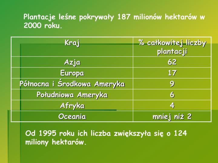 Plantacje leśne pokrywały 187 milionów hektarów w 2000 roku.