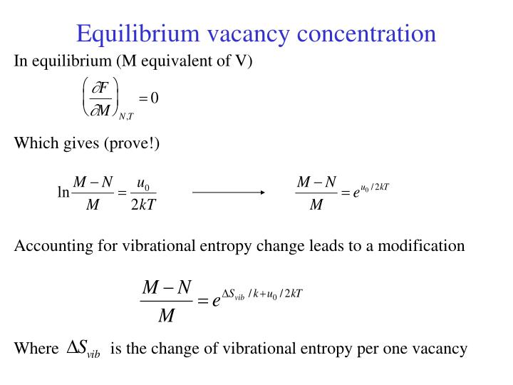 Equilibrium vacancy concentration
