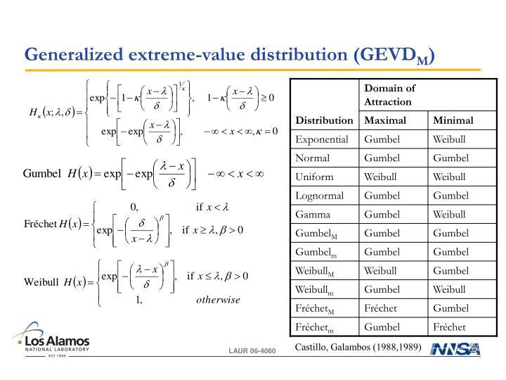Generalized extreme-value distribution (GEVD