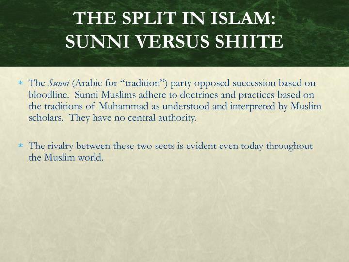 THE SPLIT IN ISLAM: