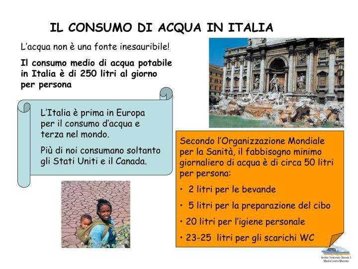 IL CONSUMO DI ACQUA IN ITALIA