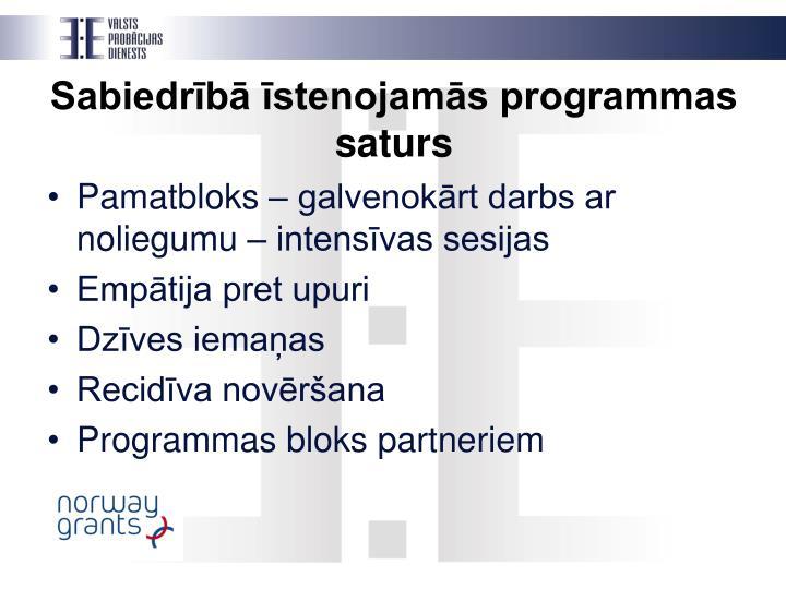 Sabiedrībā īstenojamās programmas saturs