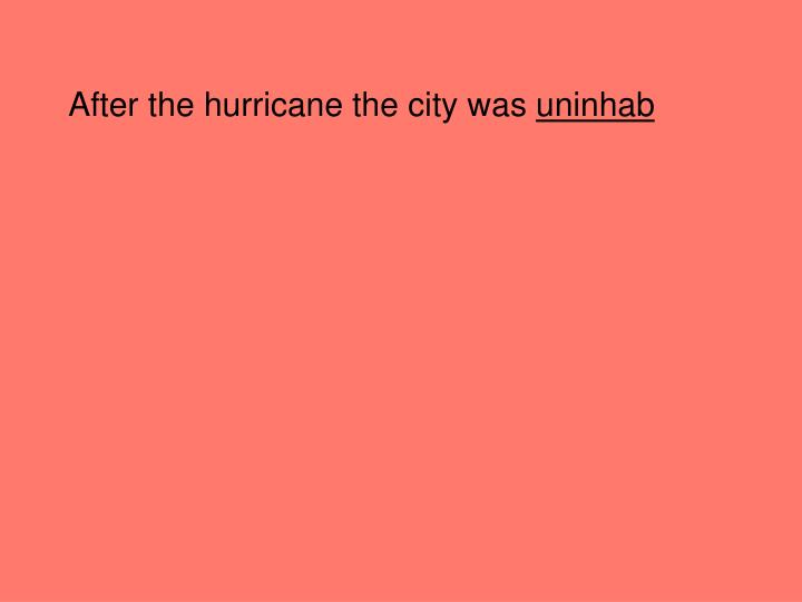 After the hurricane the city was