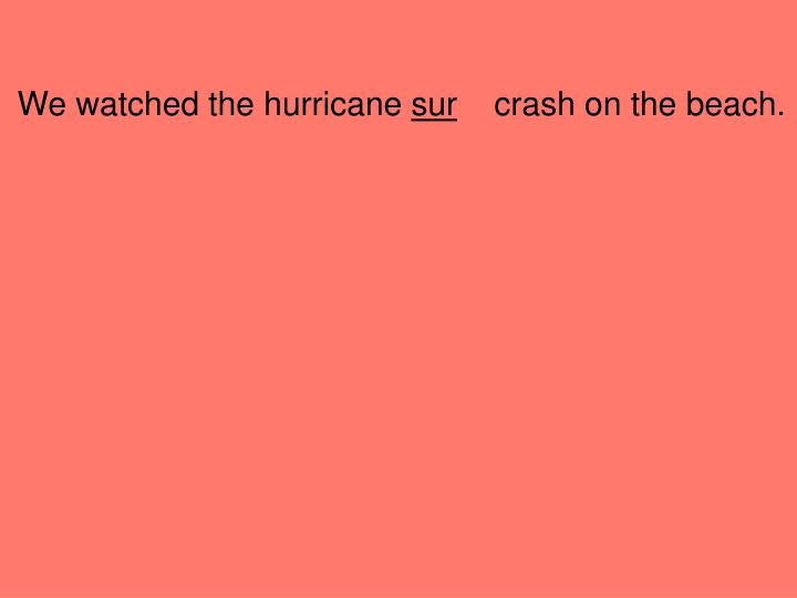 We watched the hurricane