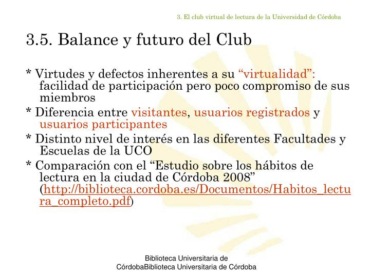 3. El club virtual de lectura de la Universidad de Córdoba