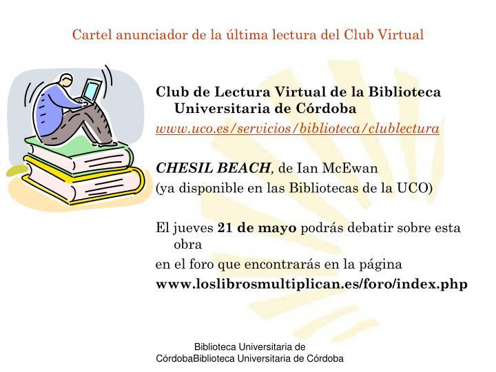 Cartel anunciador de la última lectura del Club Virtual