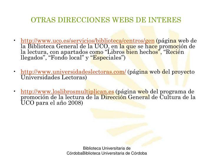 OTRAS DIRECCIONES WEBS DE INTERES